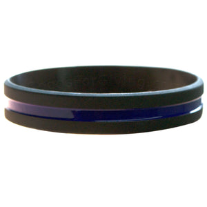 Police Black Wristband With Thin Blue Line in the middle