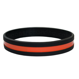 Search and Rescue Black Wristband With Thin Orange Line In The Middle