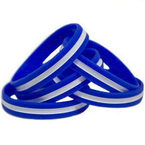 5 Pack EMS Blue Wristband With Thin White Line In The Middle