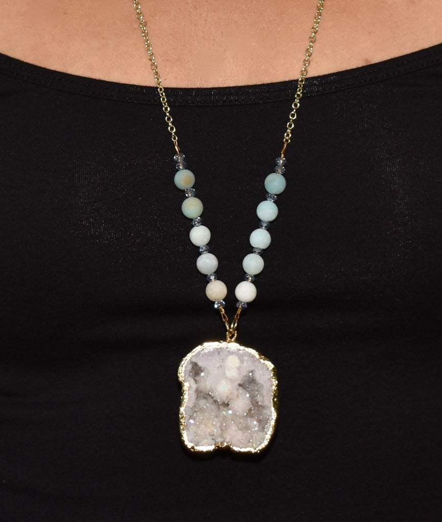 White Agate Druzy Necklace
