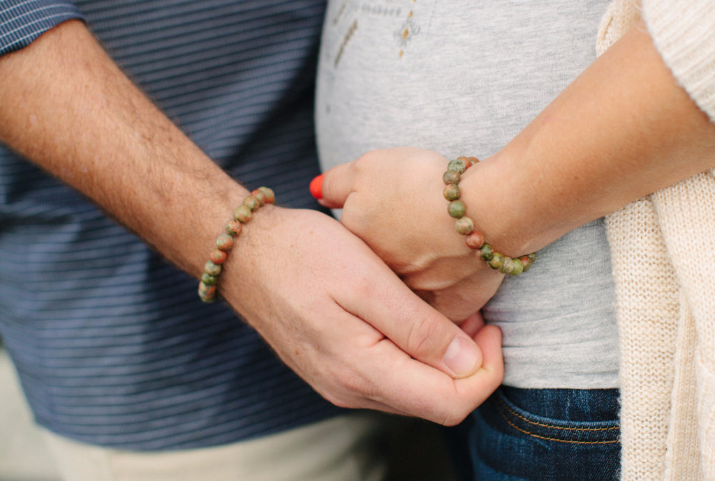 Unakite Couples Bracelet Set