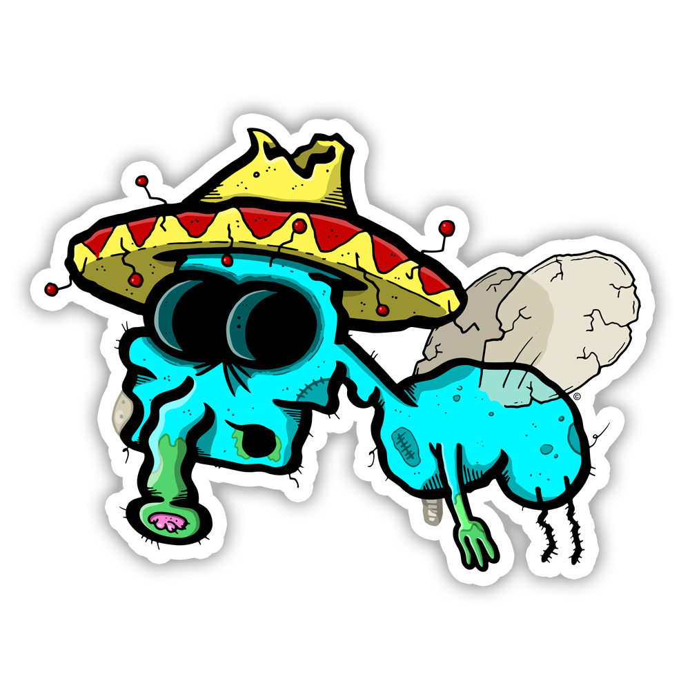 copyright-©-happee-unicorn-llc-zombie-mariachi-fly-sticker-1