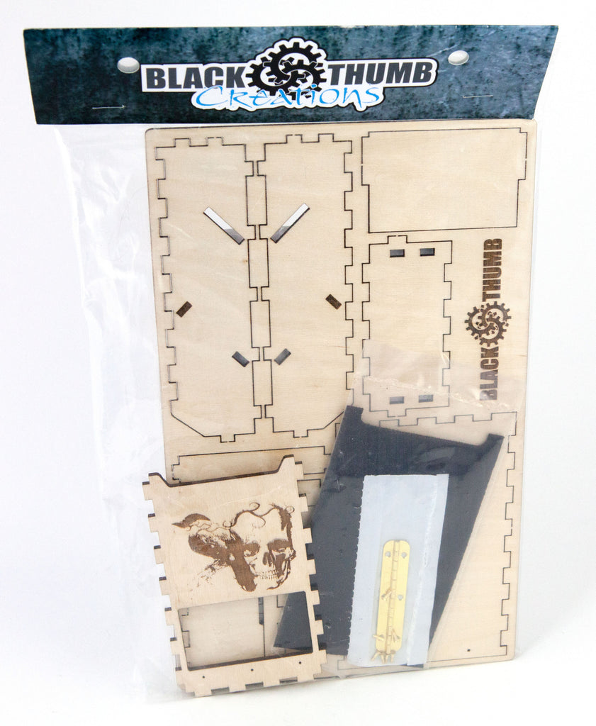 Pocket Dice Tower DIY Kit  1 engraved graphic - Blackthumb Creations