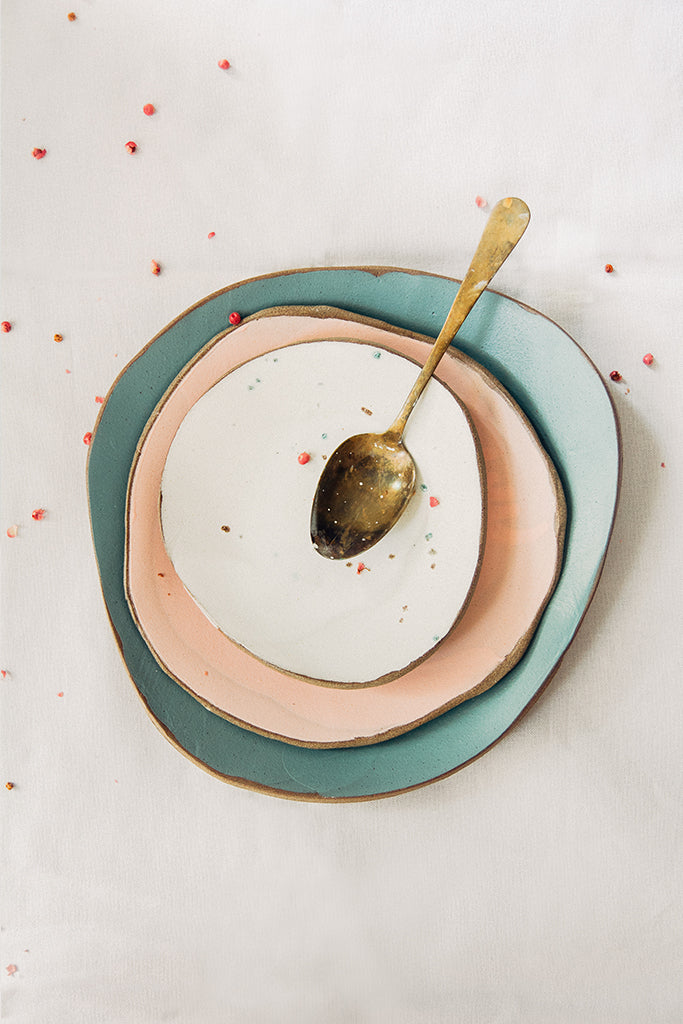 Hana Karim Ceramics handmade tableware, colorful plates, minimal table setting, gold spoon, table decoration ideas