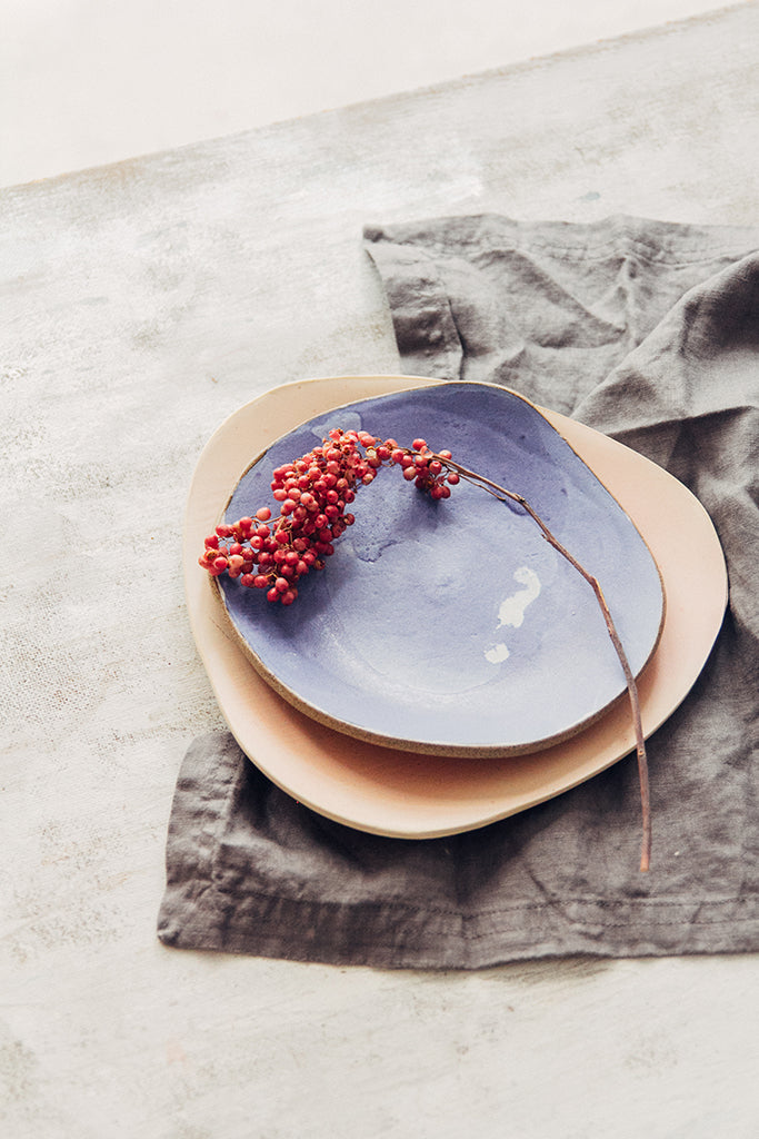Hana Karim Ceramics handmade tableware, colorful plates, minimal table setting, food styling