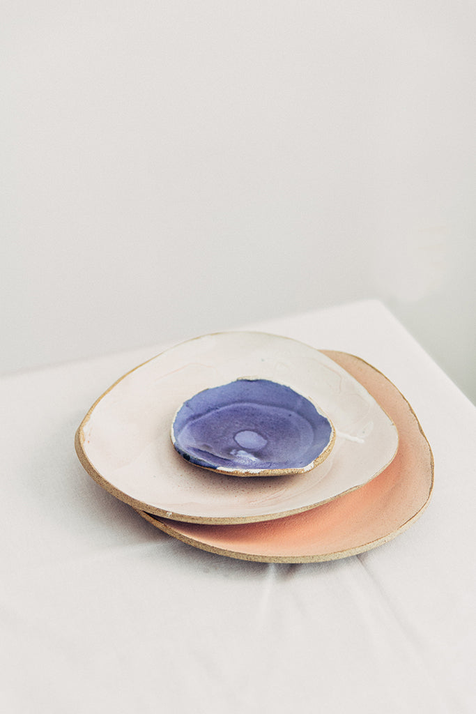 Hana Karim Ceramics handmade tableware, colorful plates, minimal table setting