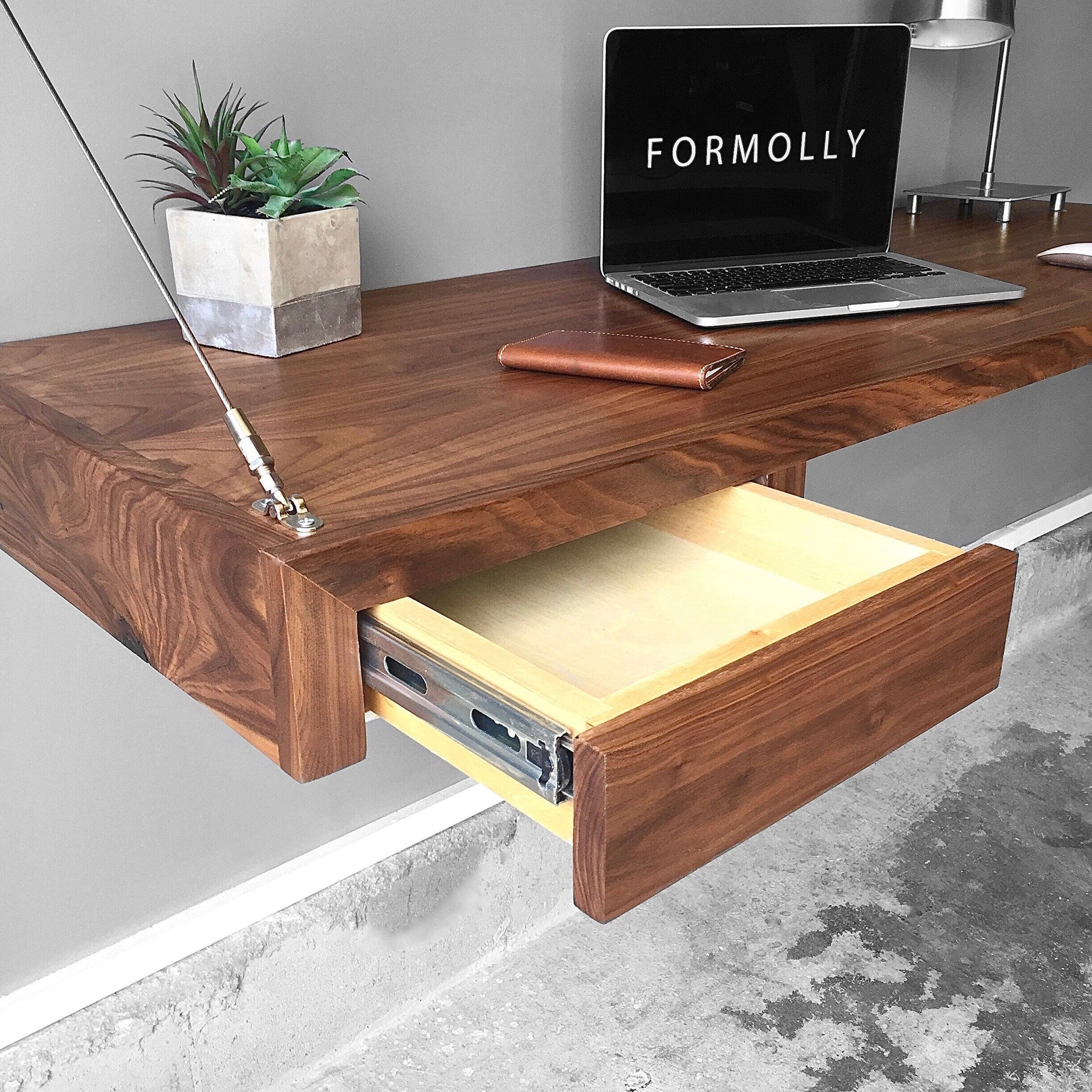Walnut Floating Desk With Storage