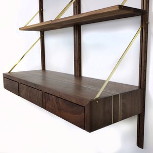 adjustable shelving unit with desk
