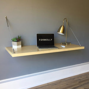wall mounted maple floating desk
