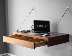 floating computer desk with full length drawer