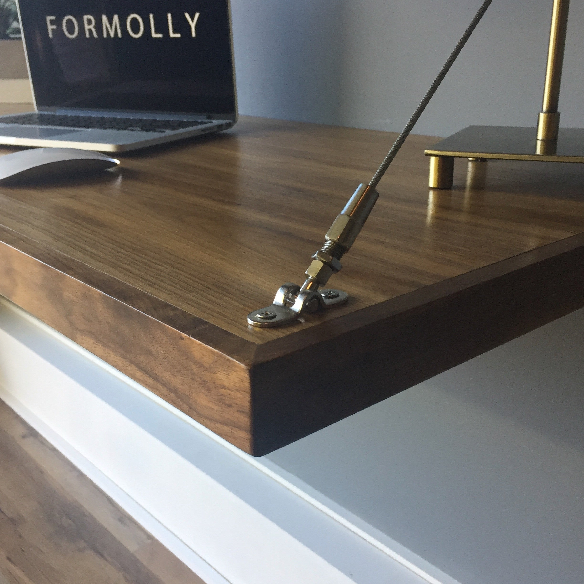 Design Wall Hanging Desk walnut floating desk by formolly wall hanging hardware