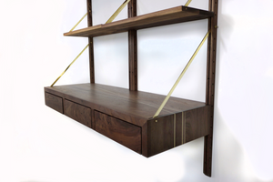 modern wall unit desk with storage - walnut and brass