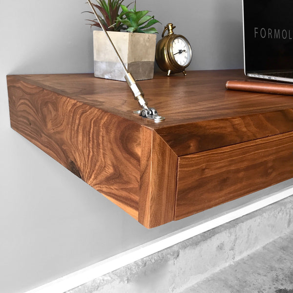 Walnut floating desk with storage by formolly formolly for Floating desk for sale