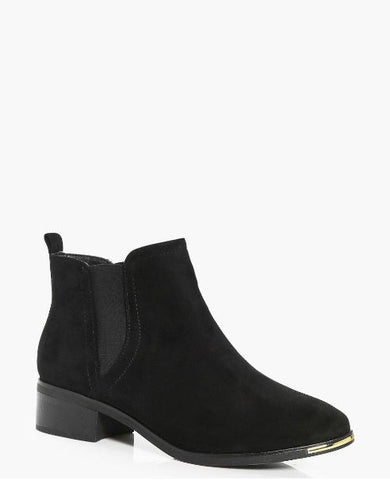 Boohoo gold trim black ankle boot sassiedoll blog