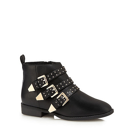Faith black buckle ankle boots SassieDoll Blog