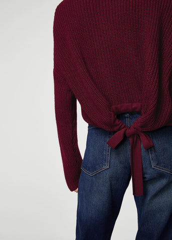 Mango bow tie knit sweater burgundy knitwear SassieDoll Blog