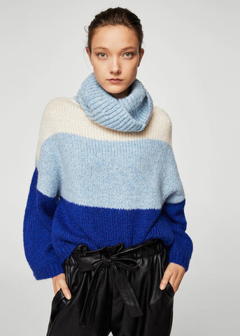 Mango striped roll neck knitted sweater