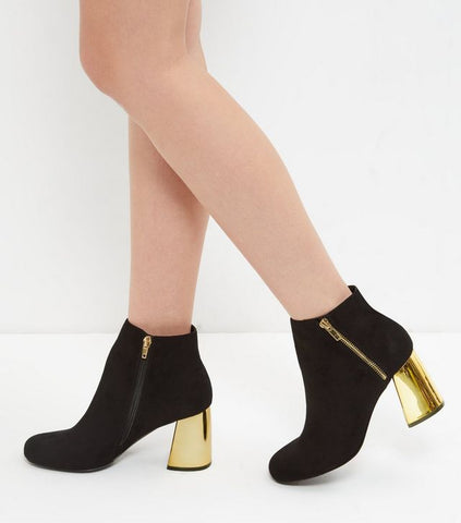 New Look Gold heel black ankle boot sassiedoll blog