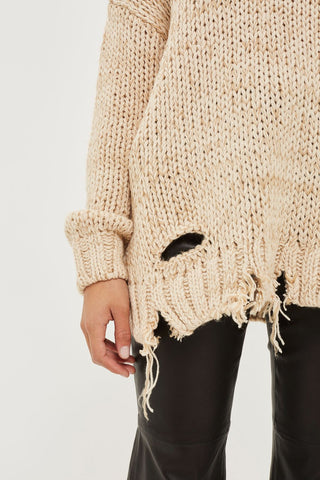 Topshop Laddered knitted jumper