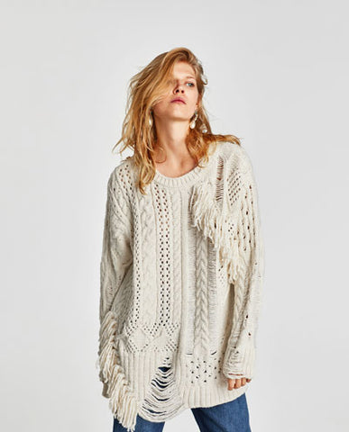 Zara fringed sweater knitwear cable knit SassieDoll Blog