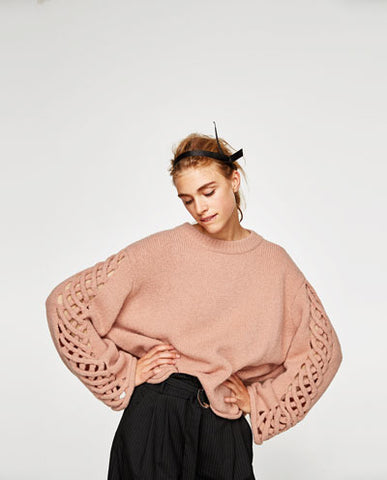 Zara Braided Sleeve sweater SassieDoll Blog AW2017