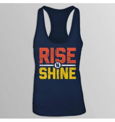 Rise and Shine Racerback Tank Top for Women - Navy Blue