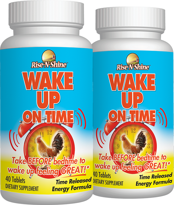 Pair of Wake Up On Time bottles