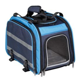 Nantucket Pet Expendable Rear Pet Carrier Light Blue/Navy 16.75x10.5x11.5 Expands to 30