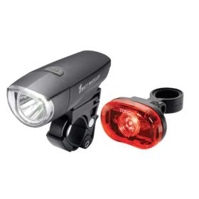 XLC 1 Watt Compact LED headlight 1/2 Watt LED taillight Bk