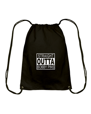 Straight Outta Bobby Pins Drawstring Backpack Bag