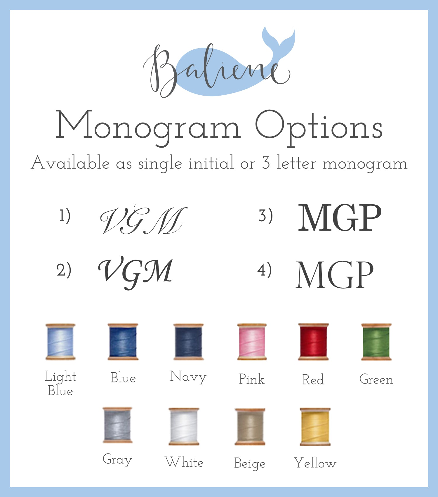 Baliene Monogram Options