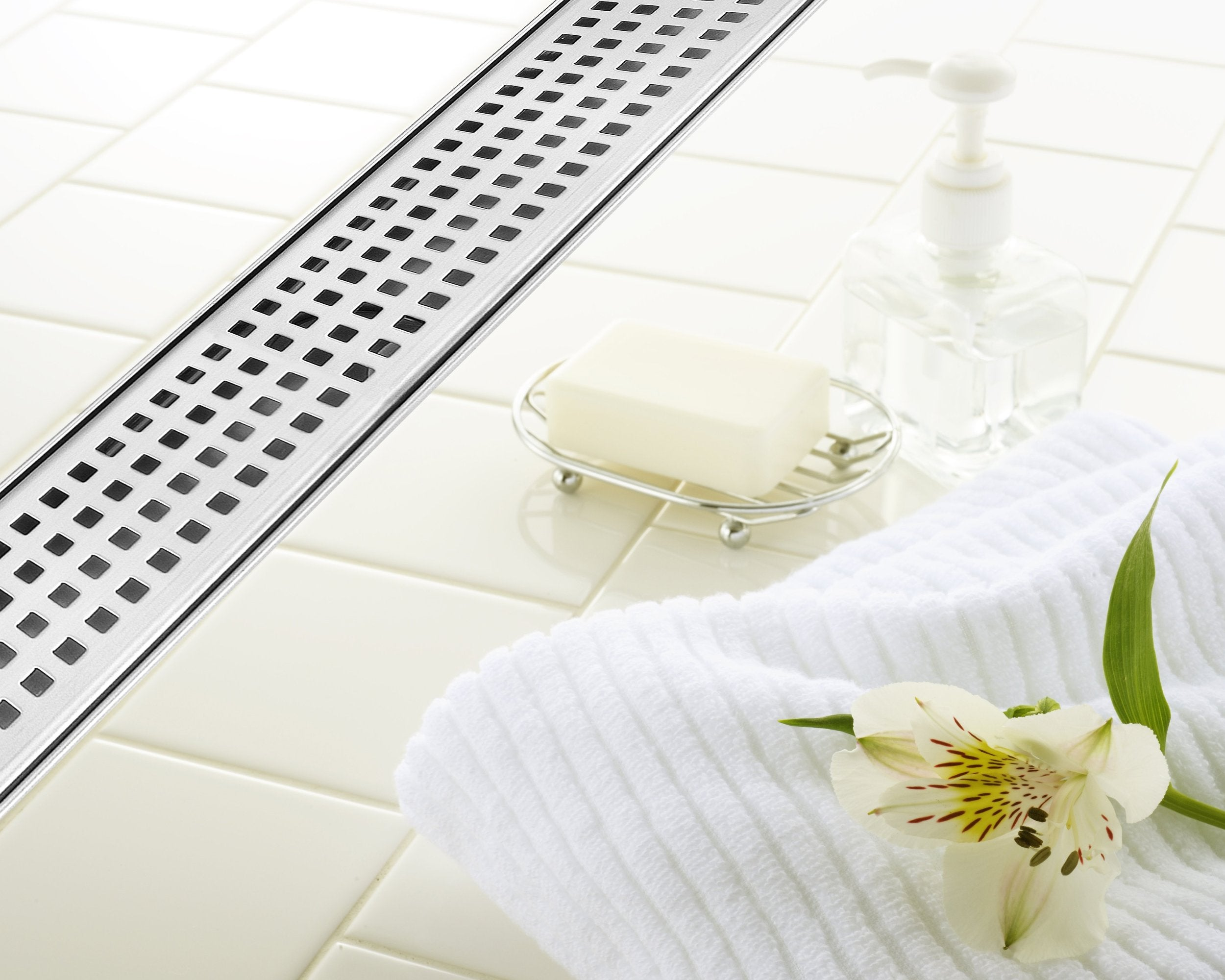 """Brushed Bars DreamDrains 42/"""" Linear Shower Drain"""