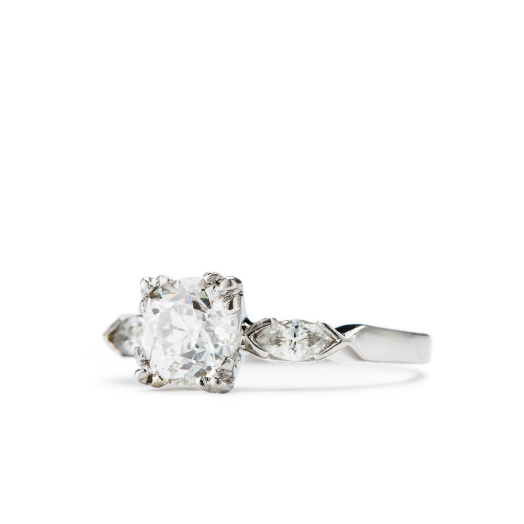 Vintage engagement Ring. A classic three stone engagement ring in platinum.