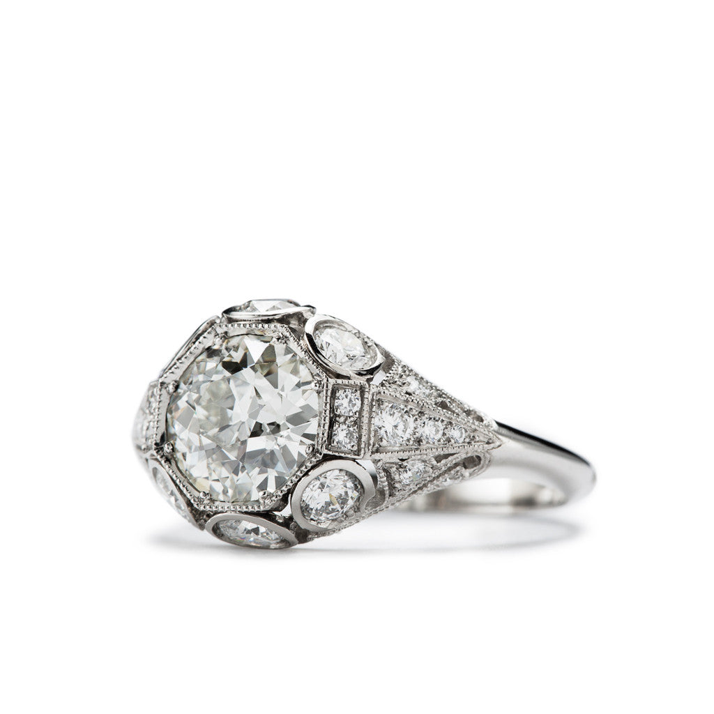 Vintage Inspired Platinum and Diamond Filigree Ring