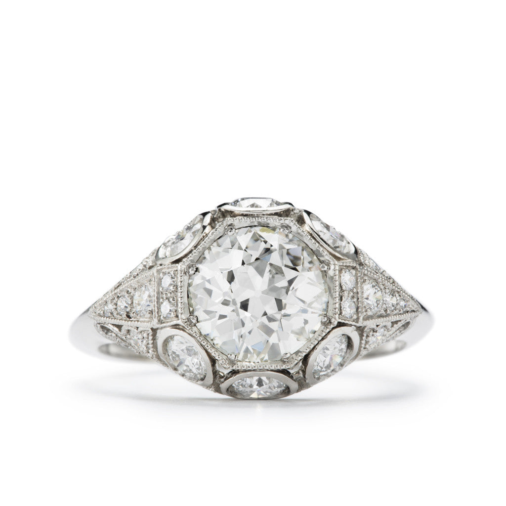 """Josephine"" Antique Diamond and Platinum Filigree Engagement Ring"