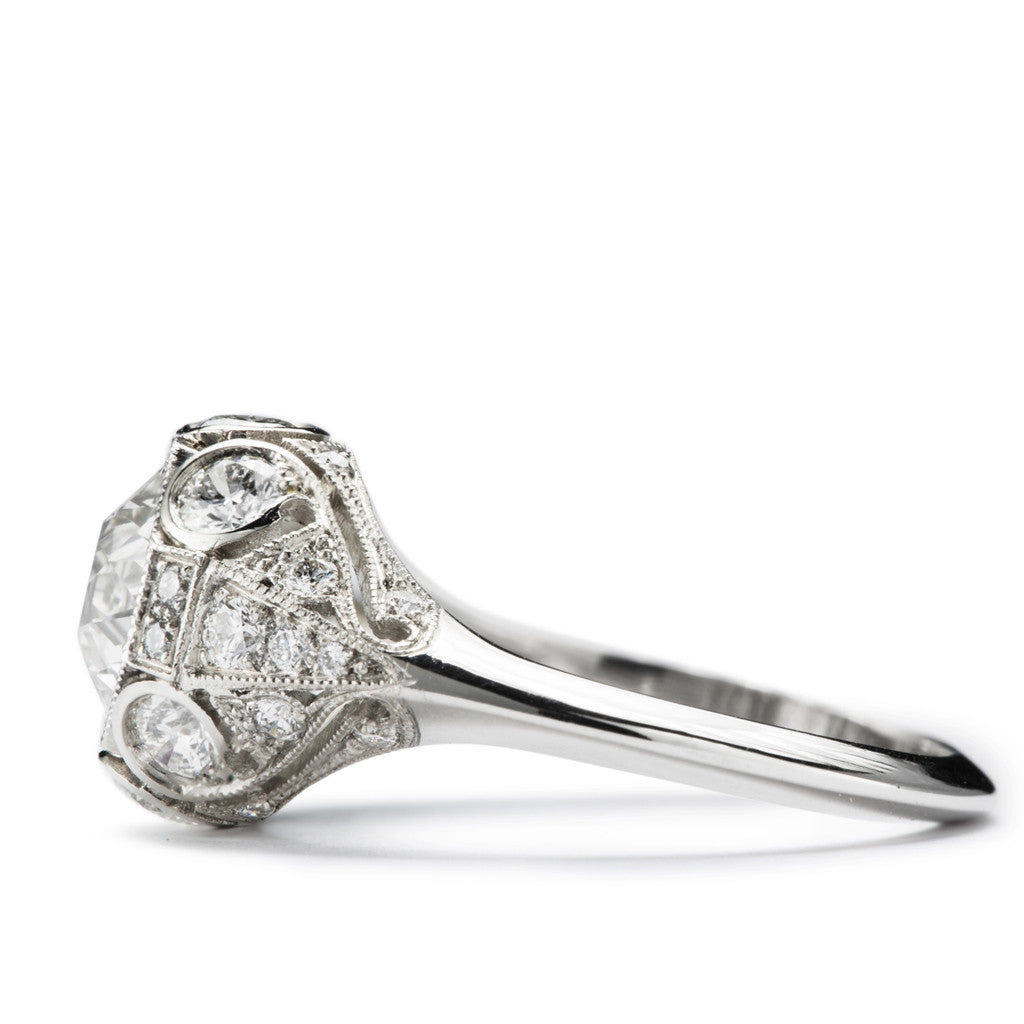 """Josephine"" Platinum and Diamond Edwardian Style Engagement Ring"