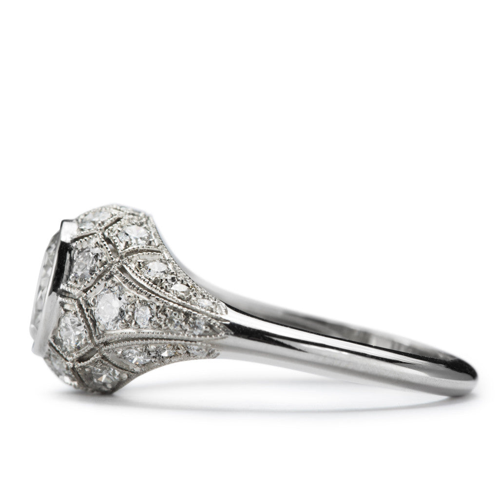 """Honeycomb"" Diamond and Platinum Engagement Ring by French Master Jeweler"