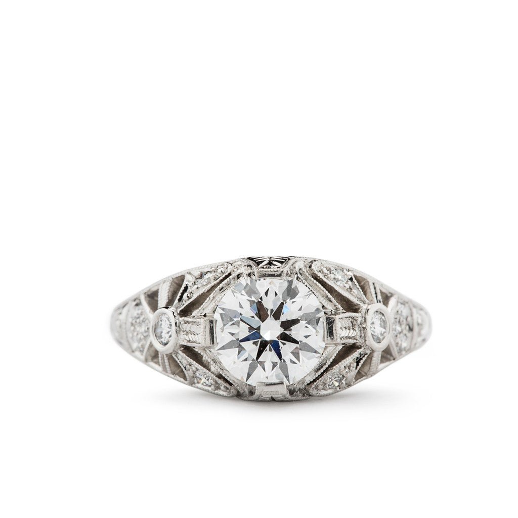 Vintage Inspired Engagement Ring in Platinum and Diamond