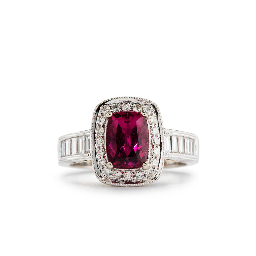 Neon Pink Rubellite Tourmaline Ring Accented with Baguette and Round Diamonds by Simon G.
