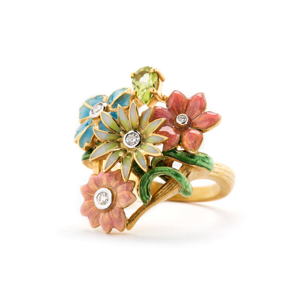 Bouquet of Enamel Flowers from this Masriera Ring.