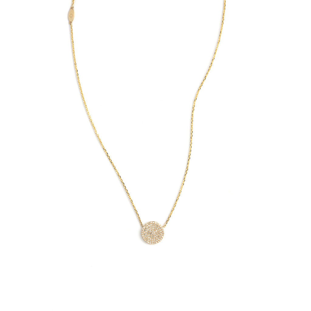 Pave Diamond Disc Pendant Necklace