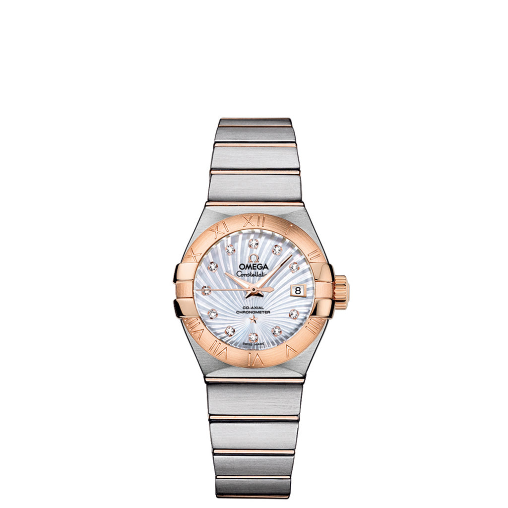 Ladies OMEGA De Ville watch  white mother-of-pearl dial with red gold-colored Roman numeral hour markers and diamond indexes.