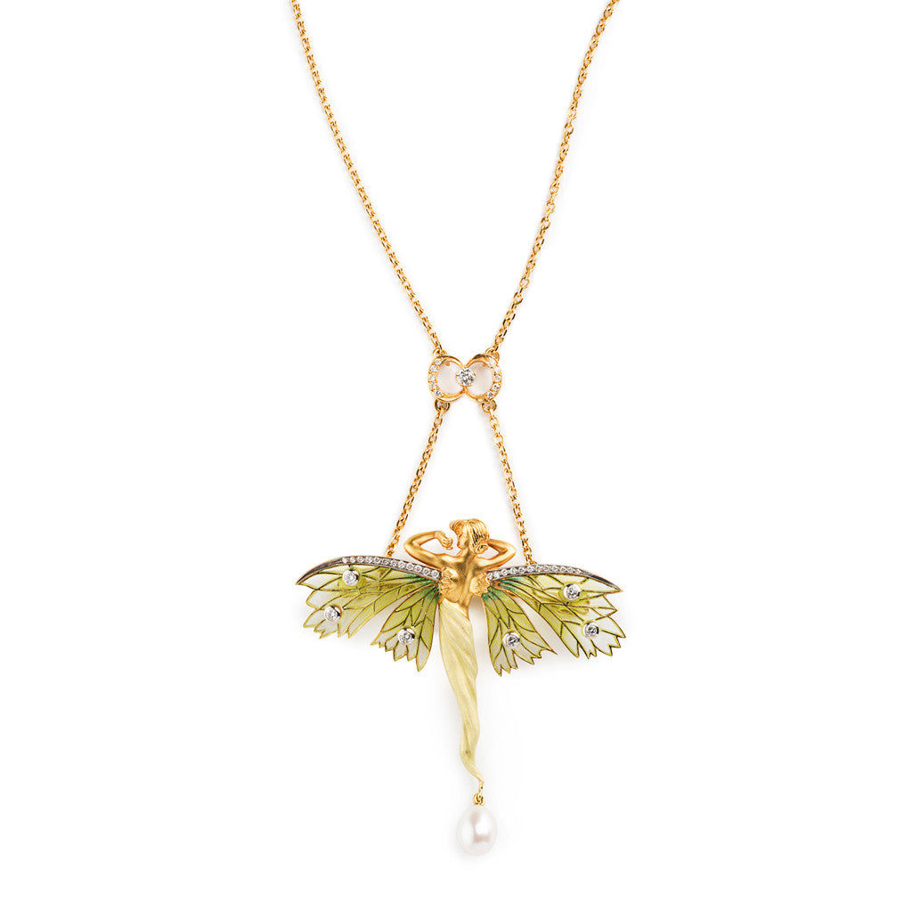 Masriera Green Enamel Fairy with Diamond Crescent Necklace