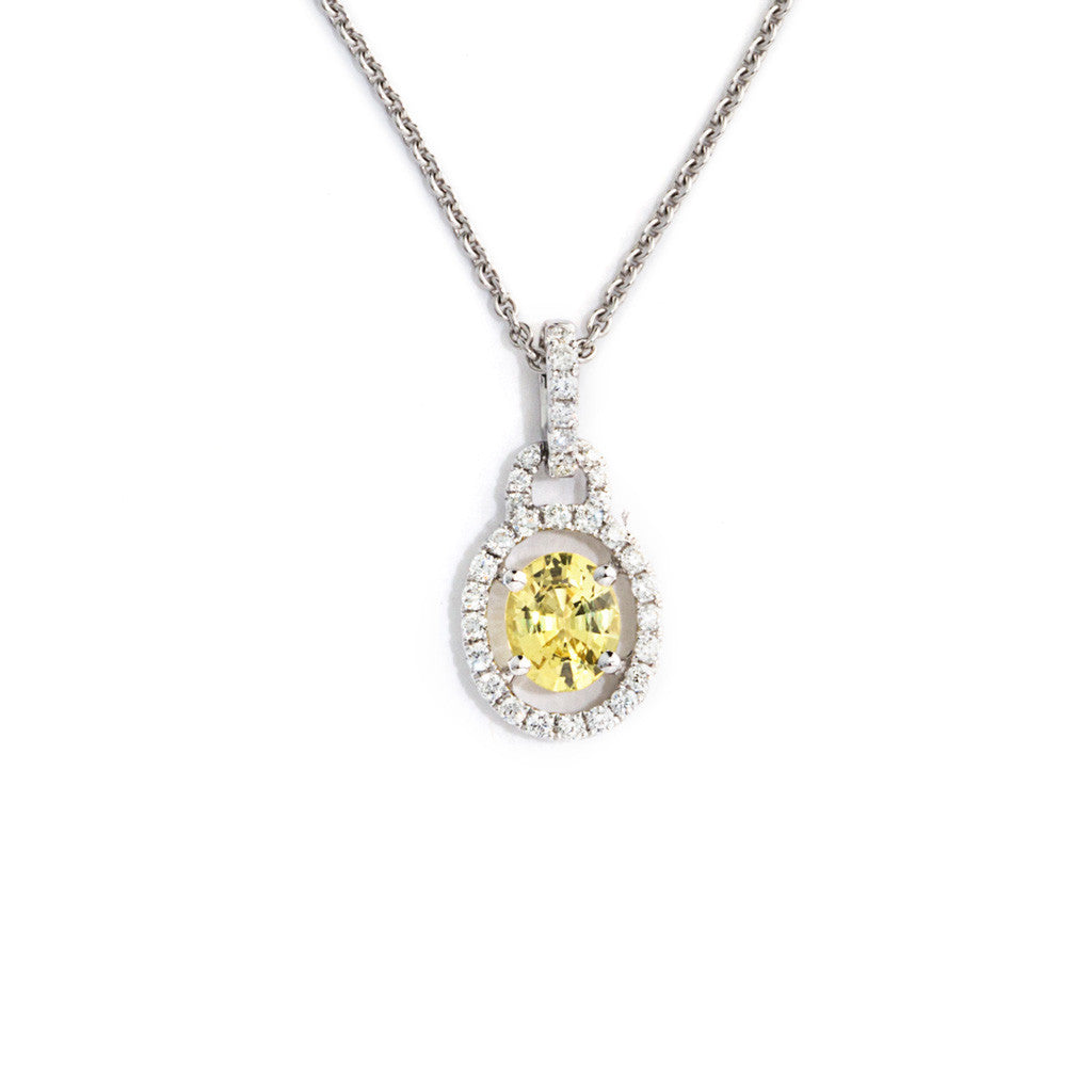 Bright Yellow Natural Sapphire Pendant with Diamond Accents.