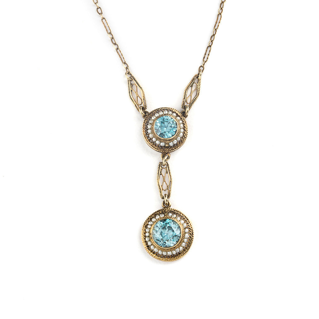 Antique Blue Zircon and Seed Pearl Necklace