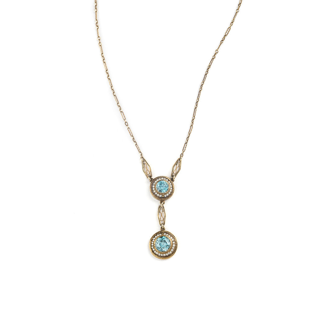 Edwardian Blue Zircon and Seed Pearl Necklace