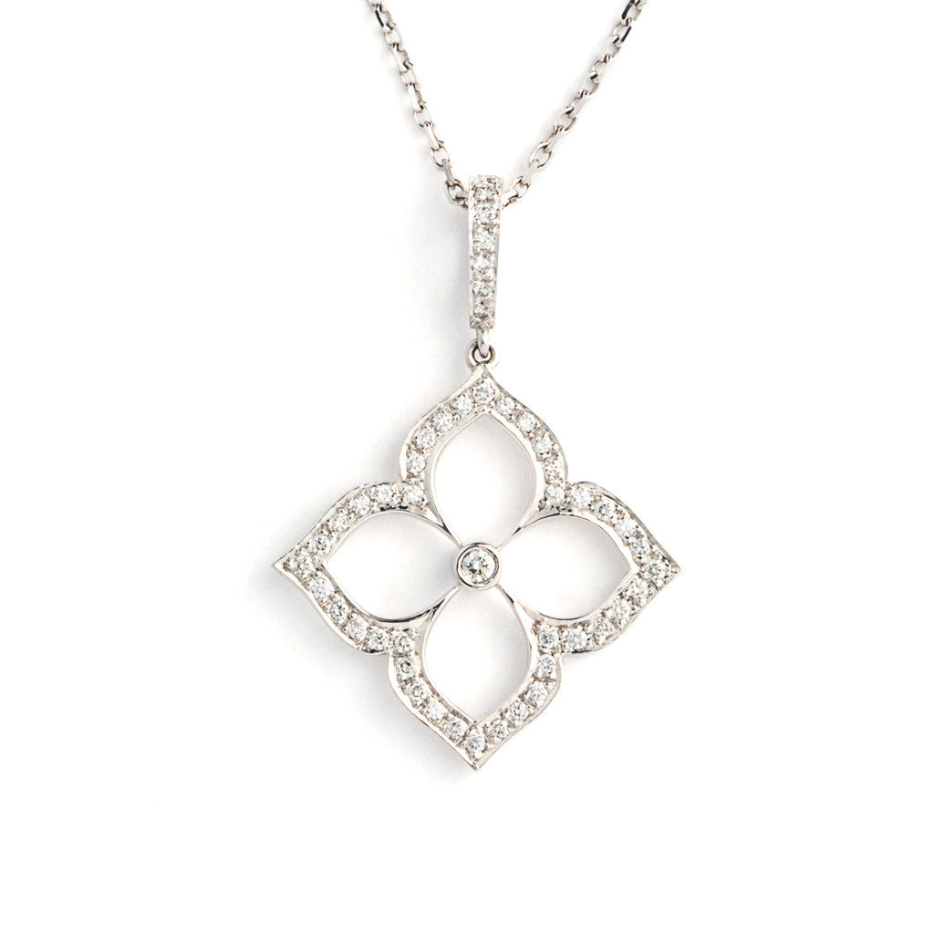 Diamond and White Gold Lotus Pendant Necklace