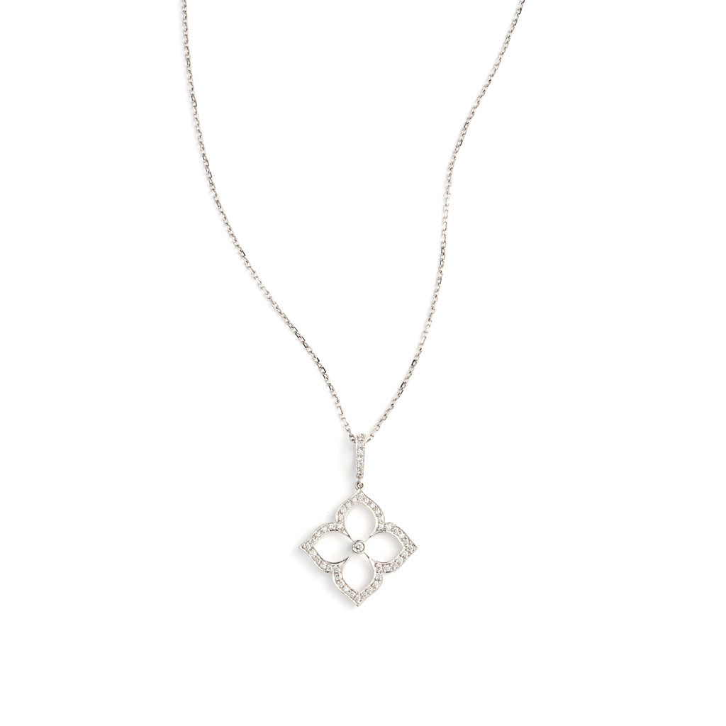 White Gold Lotus Pendant by Gumuchian