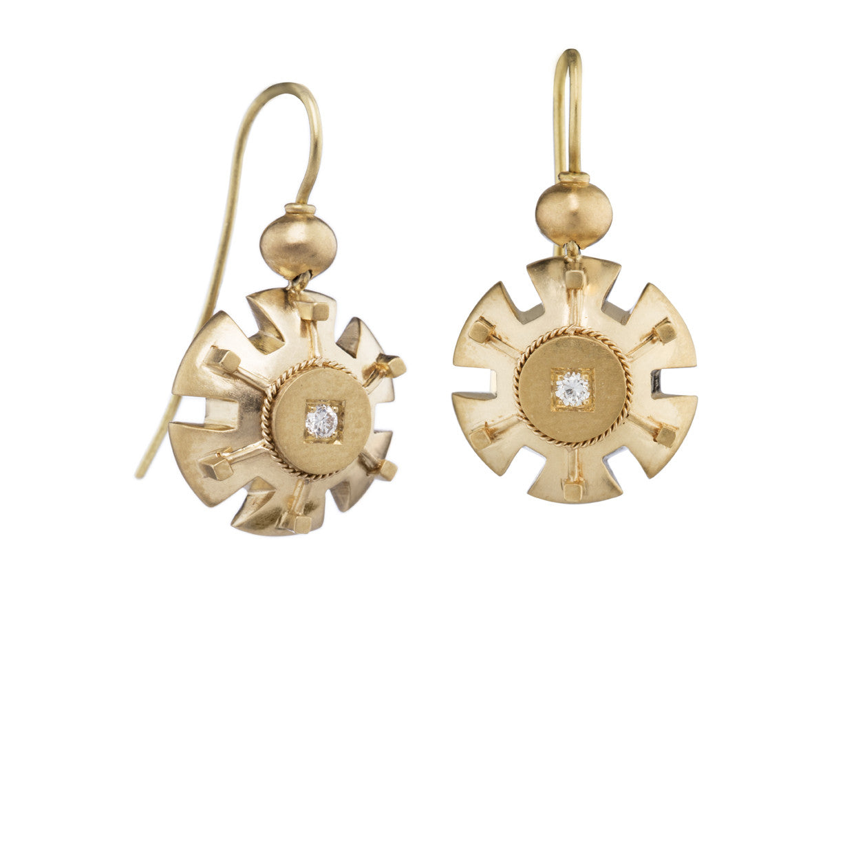 'Minerva' Etruscan Earrings in 18k yellow gold and diamond.