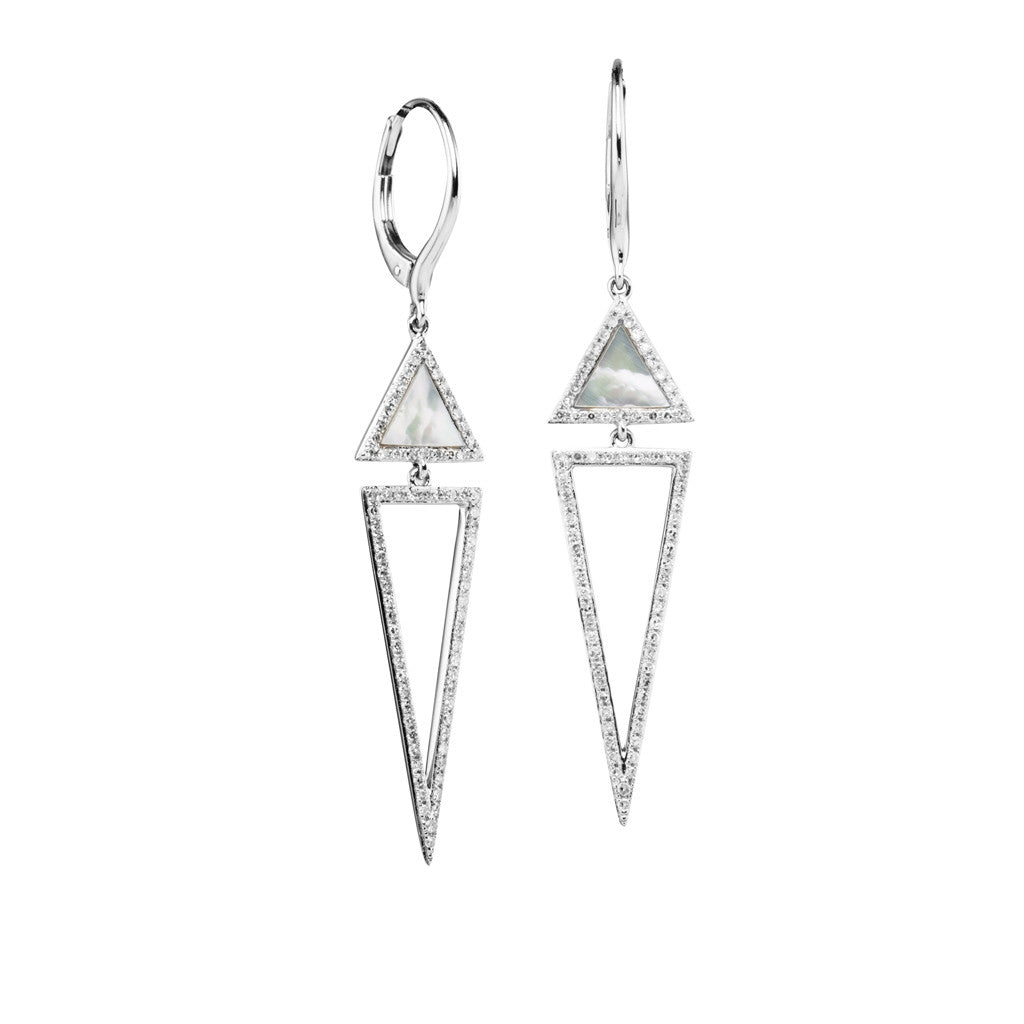Diamond and Mother of Pearl Earrings by Luvente